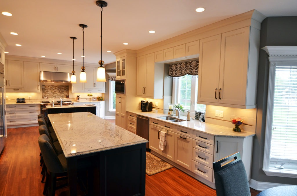 Kitchen remodeling in Naperville, IL. A bump-out window behind the sink for prep area expansion and additional sunlight.