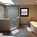 Bathroom remodeling in Naperville, IL. Bathroom with freestanding tub and expanded shower.